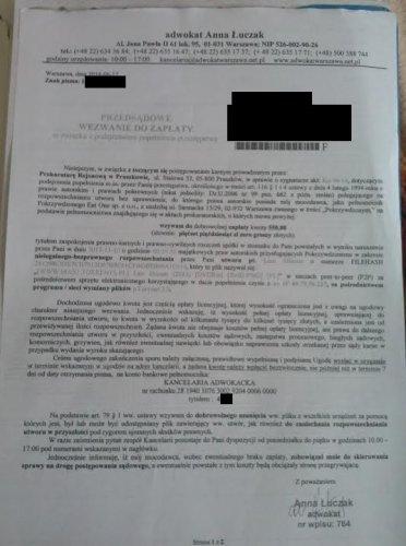 Tak wyglądają pisma wysyłane do internautów przez kancelarię Anny Łuczak