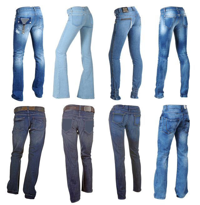 Różne kroje dżinsów.