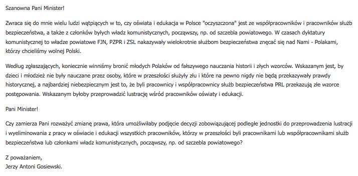 MEN udzielił wymijającej odpowiedzi a pytanie posła Gosiewskiego. Nie wiadomo, czy planuje wprowadzić zmiany w prawie, o których pisał poseł.