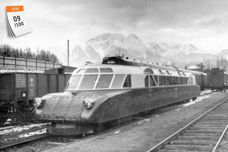 Luxtorpeda na dworcu kolejowym w Zakopanem w Polsce w 1936 r. Jeden z takich wagonów pasażerskich przeszedł do histori, ustanawiając rekord na trasie Kraków-Zakopane