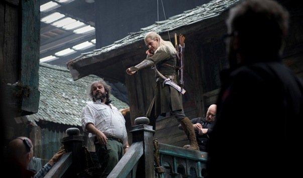 Orlando Bloom, czyli Legolas, uczy się sekwencji do kolejnej sceny.