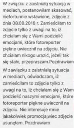 Przeprosiny Alicji Napiórkowskiej.