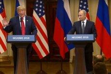 Donald Trump podczas spotkania z Władimirem Putinem w Helsinkach.