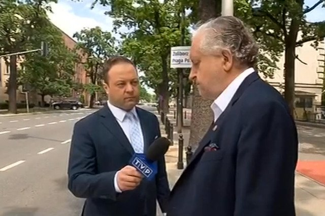 Klaudiusz Pobudzin podczas nagrywania materiału z Andrzejem Rzeplińskim.