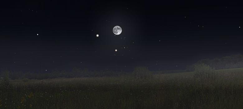 Księżyc, Jowisz i Aldebaran ok. 17:00