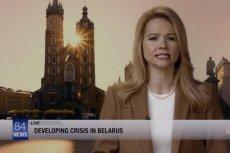 """Prezenterka w serialu """"Scorpion"""" mówiąc o kryzysie na Białorusi ma w tle Bazylikę Mariacką i pomnik Mickiewicza."""