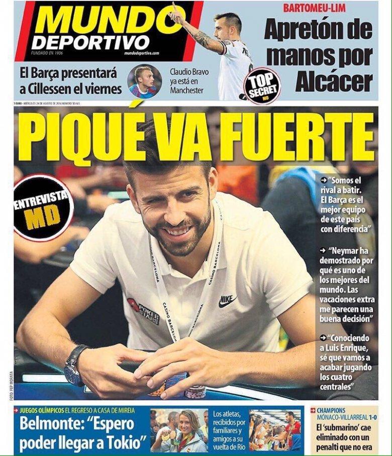 Okładka dziennika Mundo Deportivo ze zdjęciem Gerarda Pique z EPT Barcelona 2016.