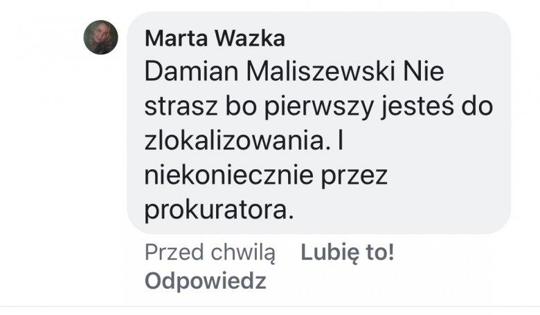 Zrzut ekranu z groźbami karalnymi, które publikują fani Zofii Klepackiej po publikacji tego apelu.