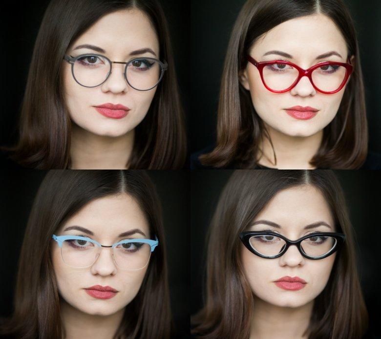 Kształt i kolor oprawki zmienia nie tylko wygląd twarzy, ale często także sposób w jaki jesteśmy odbierani przez nowo poznane osoby. Od góry od lewej: Mykita, Cutler and Gross, Mykita, Dior