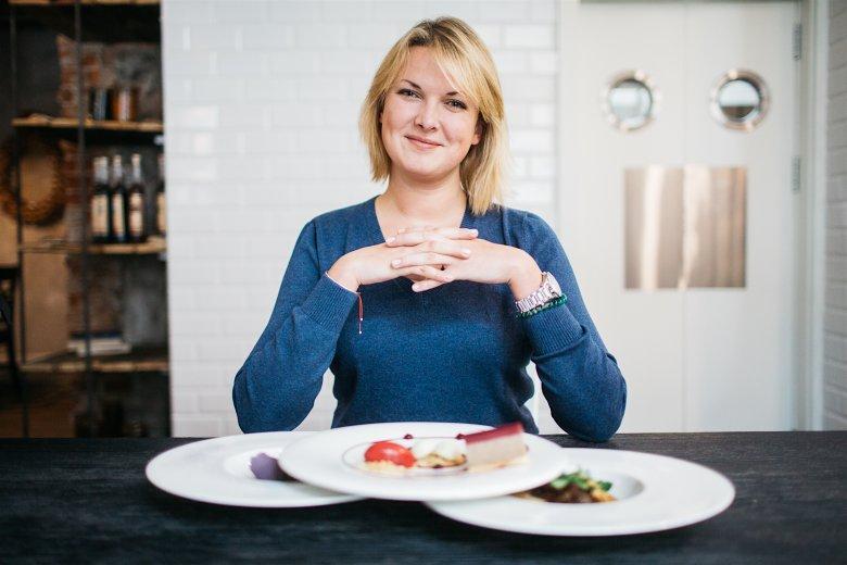 Magda Grzebyk i trzy dania przygotowane przez restaurację L'enfant Terrible