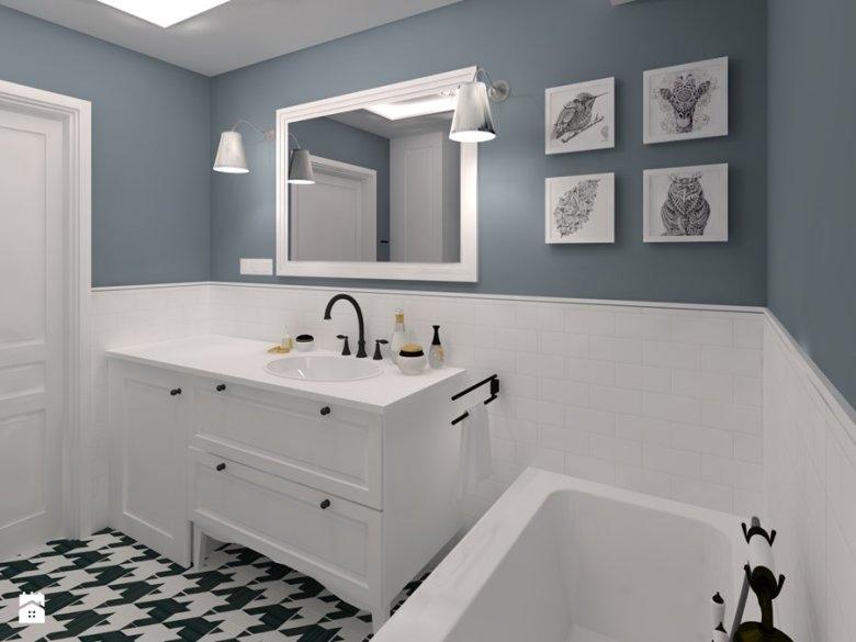 Łazienka z kaflami do połowy ściany może wyglądać bardzo elegancko!