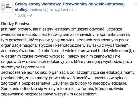 Organizatorzy odwołują zwiedzanie warszawskiego meczetu.