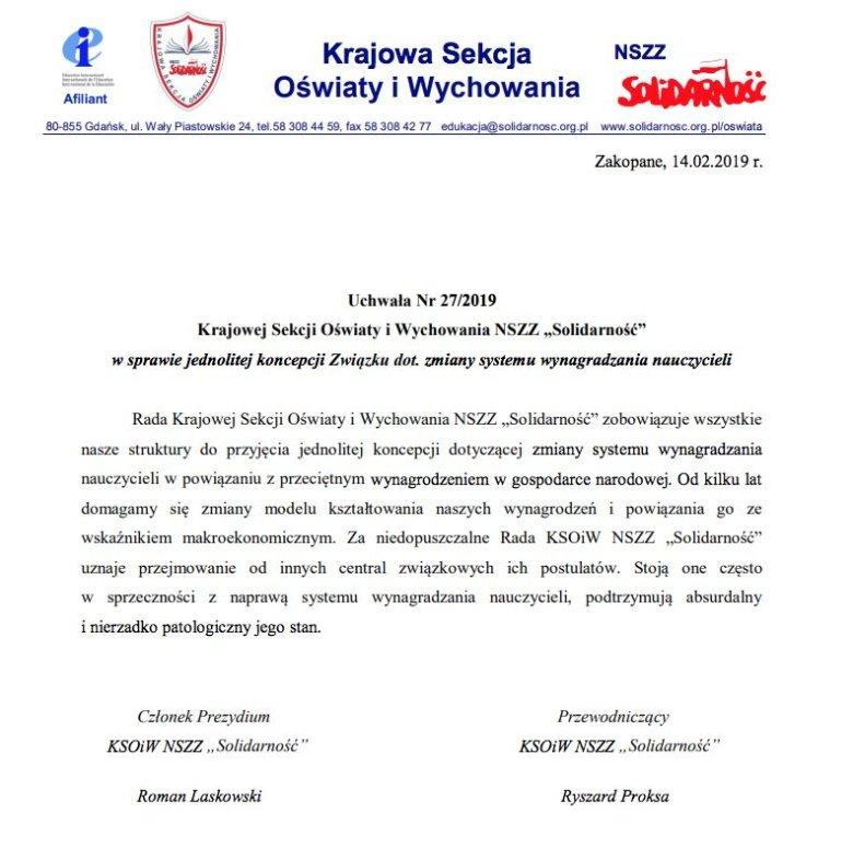 """Uchwała Krajowej Sekcji Oświaty i Wychowania NSZZ """"S"""" ws. postulatów płacowych."""