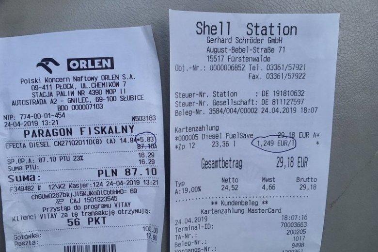Paragony wydano na stacjach w Polsce i w Niemczech.