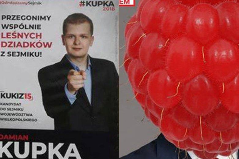 Damian Kupka i Piotr Malinowski szokują na plakatach wyborczych.
