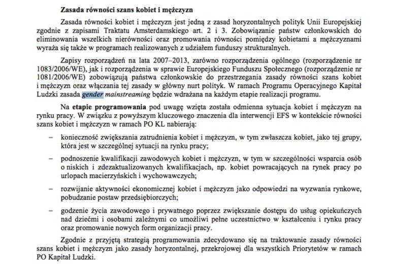 Fragment dokumentu przyjętego przez rząd Jarosława Kaczyńskiego