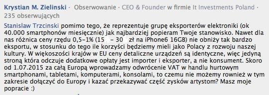 Wpis jednego z importerów sprzętu elektronicznego pod niniejszym tekstem z 9 maja 2015 roku.