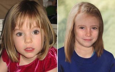 """Po lewej Madeleine w wieku 3 lat. Po prawej na """"postarzonym"""" zdjęciu, przedstawiającym jak prawdopodobnie wyglądałaby jako 8-latka."""