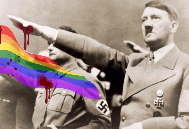 Adolf Hitler z zakrwawioną dłonią symbolizującą rzeź na osobach LGBT.