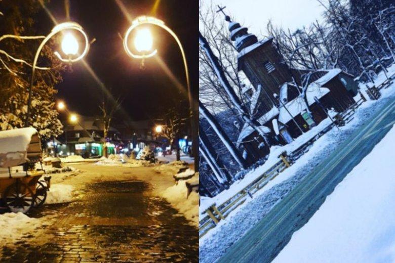 W Zakopanem zima pełną parą. Całe miasto jest pokryte śniegiem.