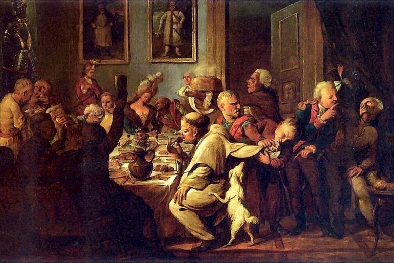 """Obraz """"Uczta u Radziwiłłów"""", Aleksander Orłowski, pierwsza połowa XIX wieku."""
