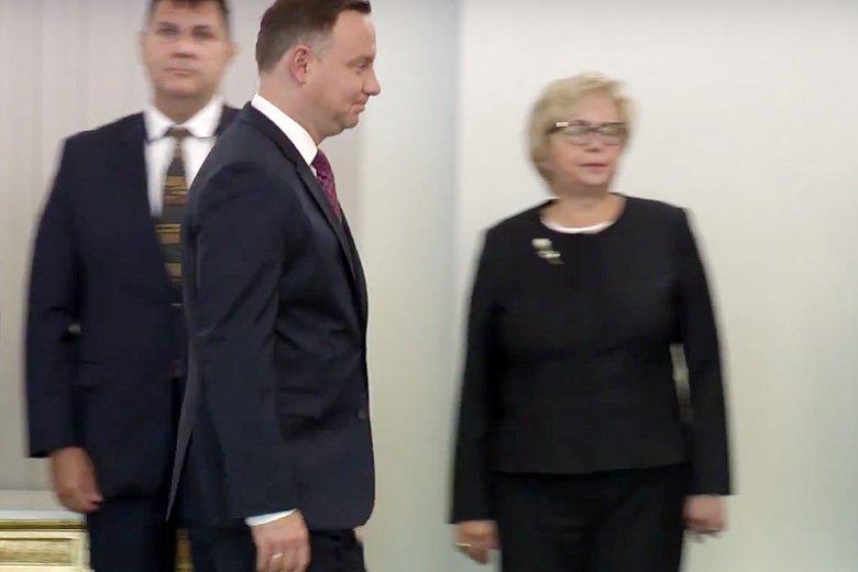 I prezes Sądu Najwyższego prof. Małgorzata Gersdorf zaskoczyła obecnością w Pałacu Prezydenckim.