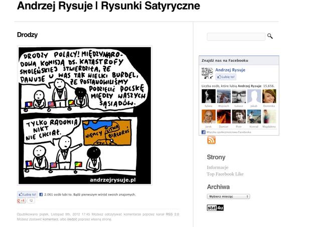 Fragment strony andrzejrysuje.pl, na którym widać satyryczny obrazek dot. Radomia.
