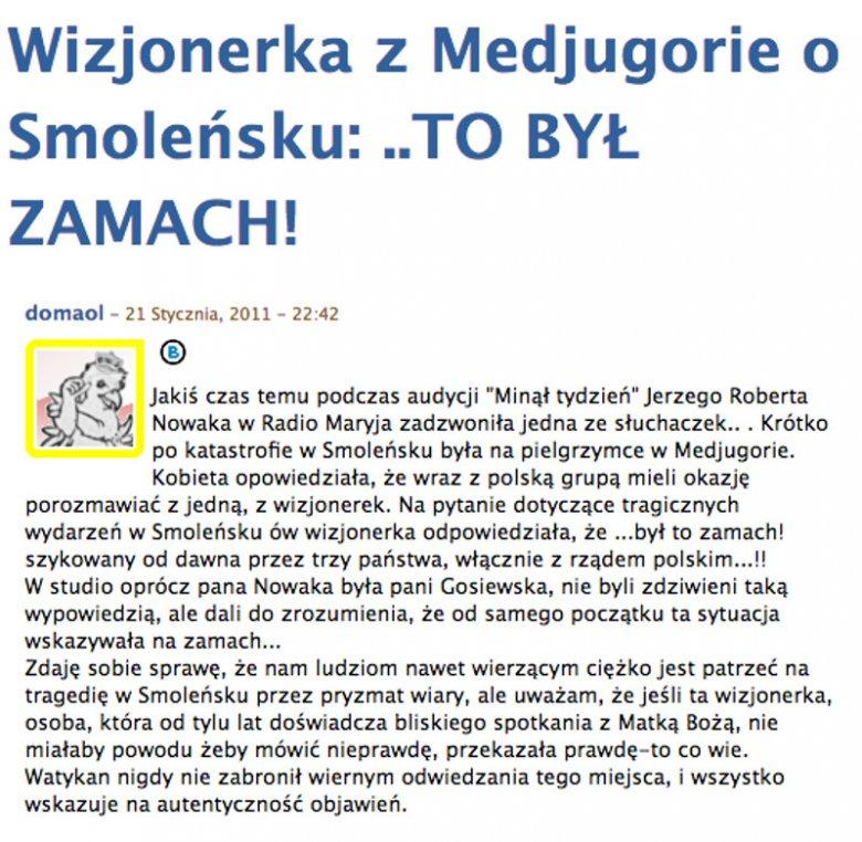 """Według tej relacji, """"wizjonerka"""" od """"Maryi"""" dowiedziała się, jaka była przyczyna katastrofy lotniczej w Smoleńsku."""