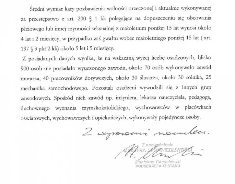 W 2013 r. wiceminister sprawiedliwości w piśmie skierowanym do Senatu przedstawił dane dotyczące zawodów osób odbywających wyroki za czyny pedofilskie.