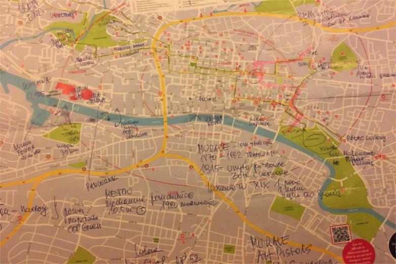 Mapa mistrzostw Europy Glasgow 2018 z zaznaczeniem trasy i ciekawych miejsc, które kamera może pokazać