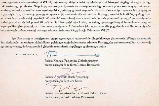 List do Donalda Tuska w sprawie akcyzy na papierosy
