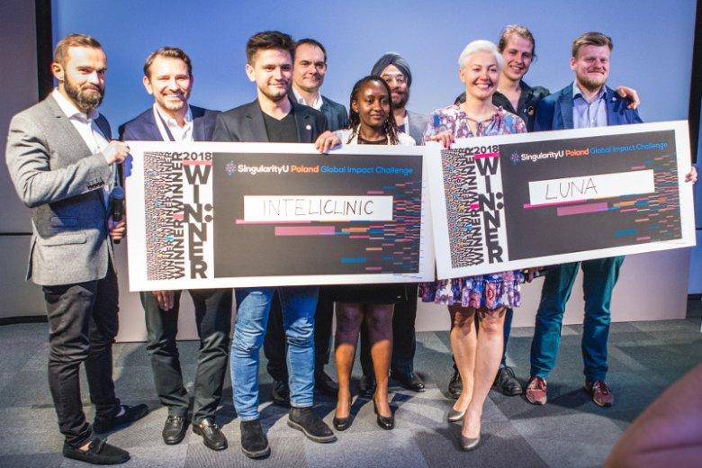 Zwycięzcami Global Impact Challenge 2018 zostali Kamil Adamczyk z Intelclinic oraz Wojciech Daniło i Marcin Kostrzewy z Luny.
