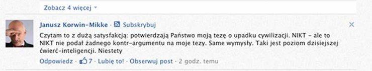 Janusz Korwin-Mikke odpowiada na krytykęczytelników naTemat