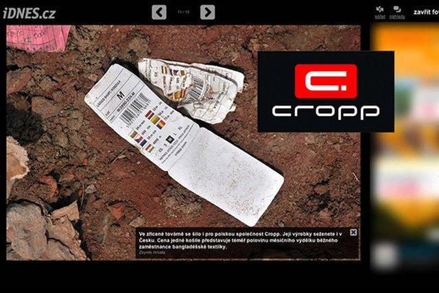 Metki ubrań firmy Cropp znaleziono na gruzach fabryki Rana Plaza.