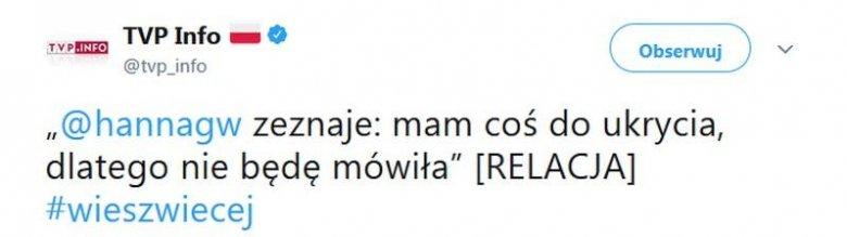 Pracownik TVP Info napisał na Twitterze nieprawdziwy komunikat. Słowa Patryka Jakiego (PiS) włożył w usta Hanny Gronkiewicz-Waltz (PO).