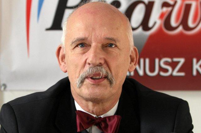 Janusz Korwin-Mikke uderza poniżej pasa. Na Facebooku zarzucił szefowi śląskiej PO gwałt na kelnerce.