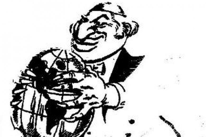Ilustracja ukazująca rzekomy żydowski spisek zawładnięcia światem.