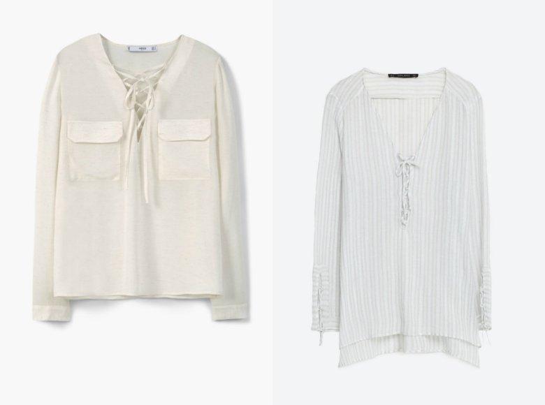 Trend w wersji biurowej: koszuka z kieszeniami - Mango 99,90 zł (przeceniona z 139,90 zł), koszula w paski - Zara 119,90 zł