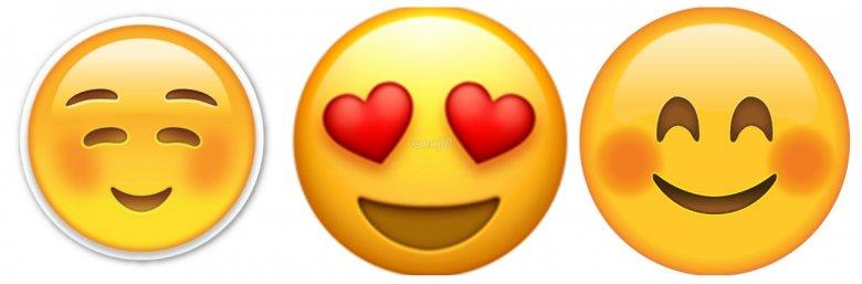 Emoji, których nadawczyni zostanie najpewniej odebrana jako atrakcyjniejsza, niż koleżanka wysyłająca żółte grymasy.
