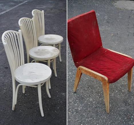 """1. Krzesła z Fabryki Mebli Giętych """"FAMEG"""" w Jasienicy 2. Kultowe krzesło typu Aga projektu J. Chierowskiego z lat 60/70 [opis: B/R/Z]"""