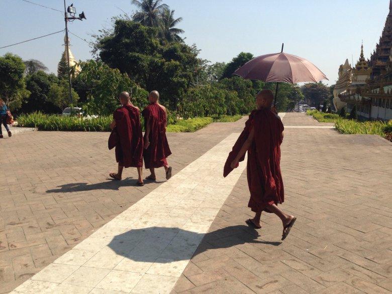 Spacerujący po ulicach Rangunu buddyjscy mnisi. Birma.