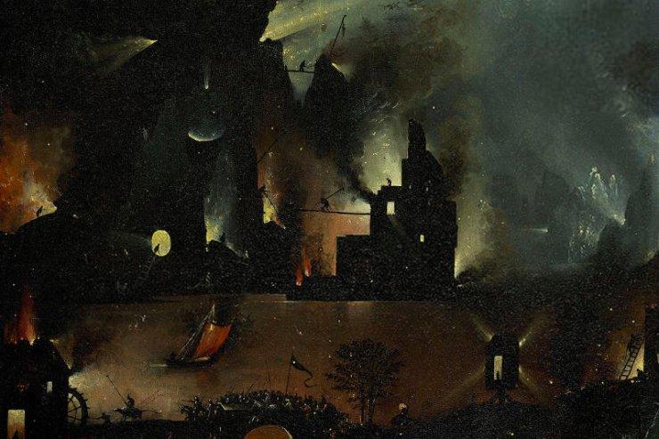 Płonące Hertogenbosch jako część piekła.
