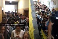 Kolejki i tłumy na szkolnych korytarzach po reformie edukacji.