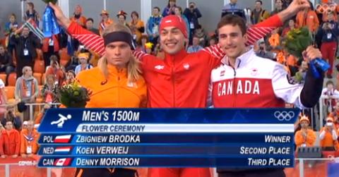 Wyraźnie widać, kto na tym zdjęciu jest bardziej zadowolony – czy drugi Holender, czy trzeci Kanadyjczyk.