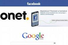 Logo Facebook, Onet i Google
