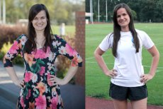 """Po lewej: Maja Sieńkowska - przed biegową """"terapią"""" (kwiecień 2014). Po prawej: Maja Sieńkowska - status pacjenta: fobia przed bieganiem pokonana (wrzesień 2015)"""
