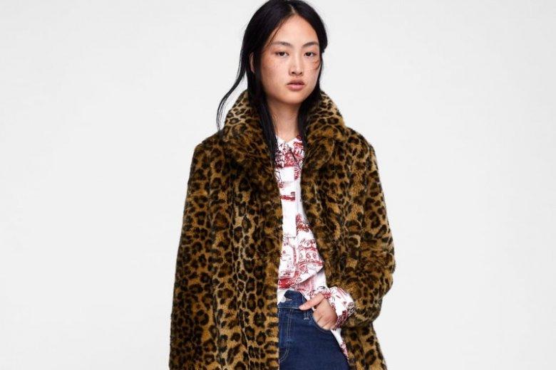 Płaszcz w panterkę w stylu vintage/ Zara, cena  349 złotych