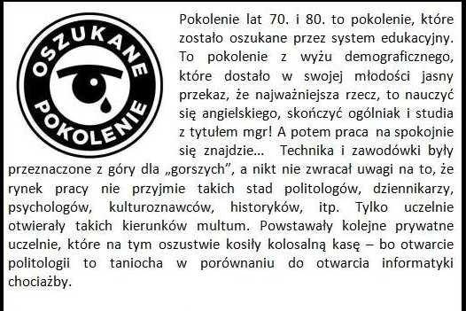 """Apel """"Oszukanego Pokolenia"""" zamieszczony na serwisie kwejk.pl"""