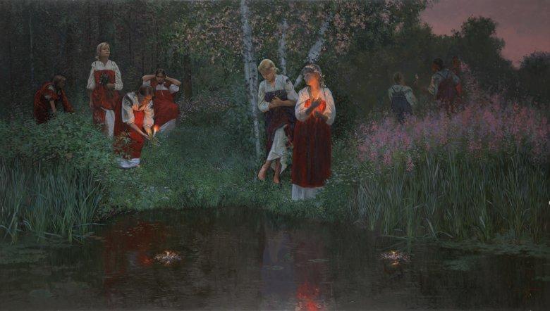 Obraz Simona Leonidovitcha Kozhina, współczesnego malarza rosyjskiego przedstawiający ludowe obchody Nocy Kupały