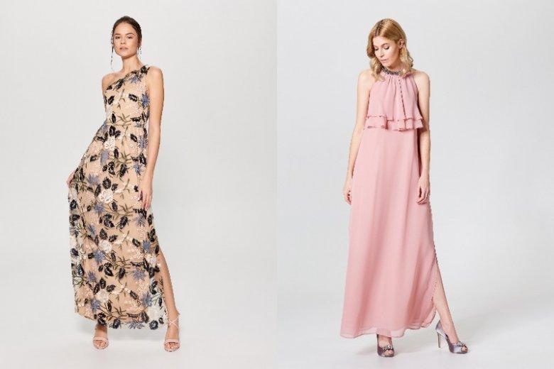 Długie sukienki w pastelowych kolorach to bardzo częsty wybór na przyjęcia ślubne. Sukienka w kwiaty: 249, 99 zł, pudrowa sukienka 219,99 zł